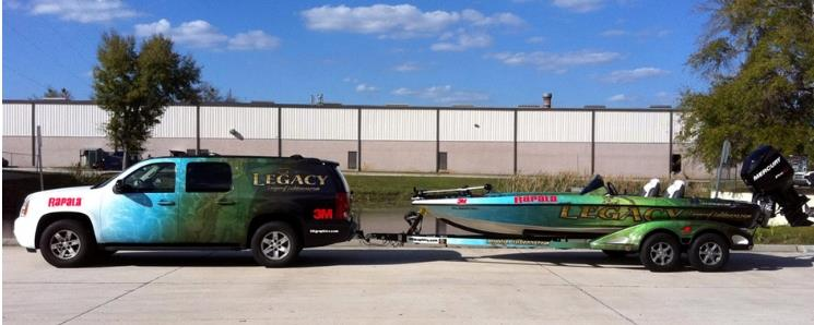 Custom boat wrap and matching vehicle